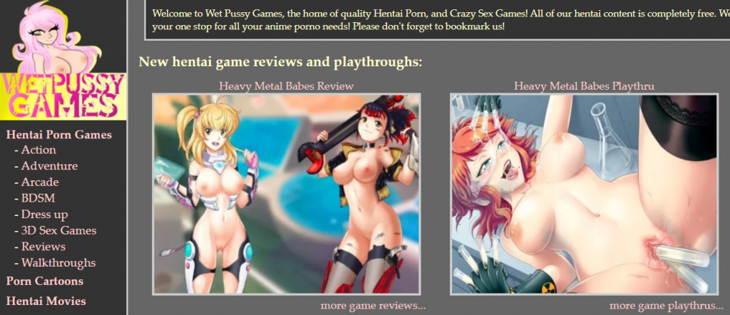 Wet Pussy Games main page